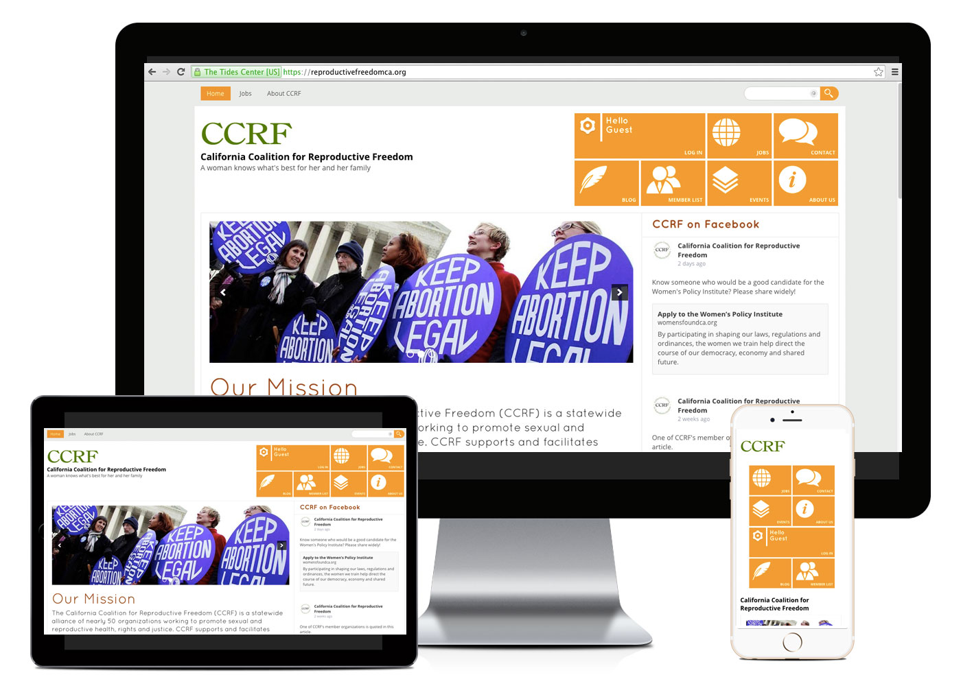 California Coalition for Reproductive Freedom Website Layout