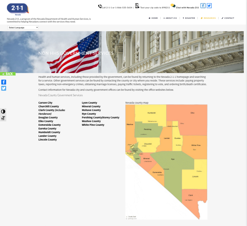 Nevada 211 Website Page Mockup