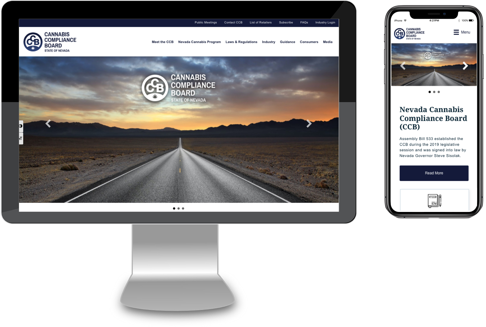 Nevada Cannabis Compliance Board Website Mockups