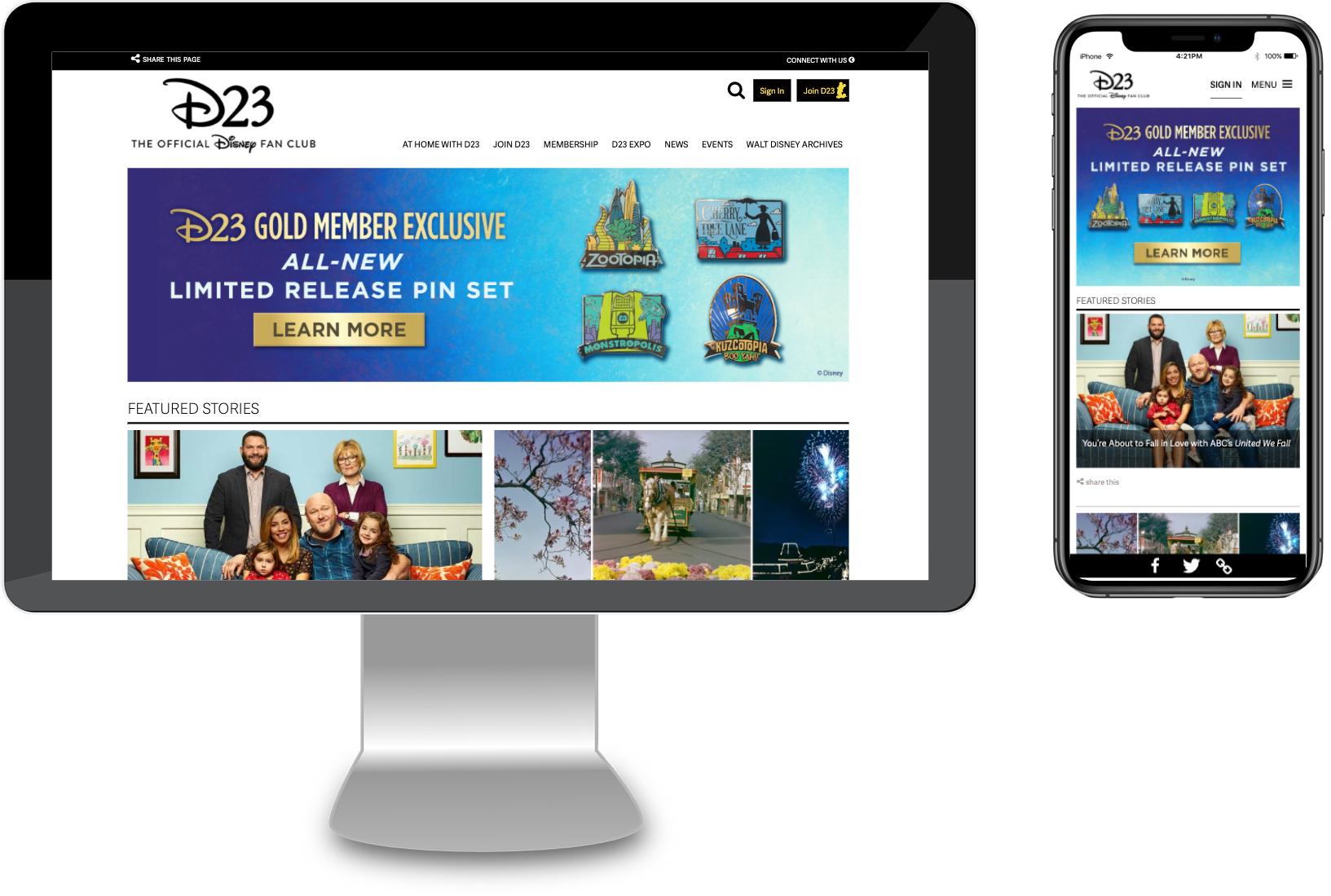D23 Desktop and Mobile Website Mockups